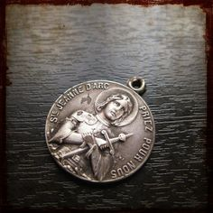 Antique Vintage French Silver Saint Joan of Arc Religious Medal - Jewelry devotion pendant from France