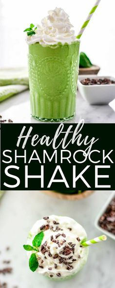 This Healthy Shamrock Shake recipe is made with 8 nutritious ingredients like avocados, spinach & Greek yogurt & is ready in 5 minutes! The perfect St. Patrick's Day treat that's naturally dyed green! No food coloring! #shamrockshake #naturallygreen #nofoodcoloring #healthyrecipe #stpatricksday