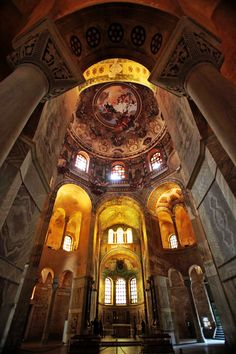 San Vitale mosaics in Ravenna, Italy - the basilica was completed under the patronage of the Byzantine Emperor Justinian I in the 6th century AD