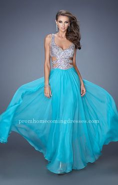 Aquamarine Beaded Side Cutout Long Prom Gown by La Femme 19658