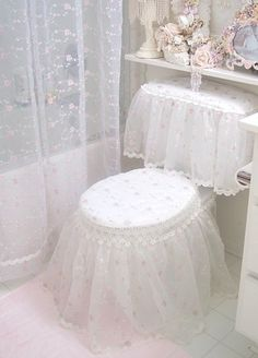 DIY lace ruffles to make the toilet pretty…because toilets need clothes (rolling my eyes). I dread the thought of how much microbial fecal matter and urine splatter would collect on this idea…and transfer to your bare legs and clothing every time you