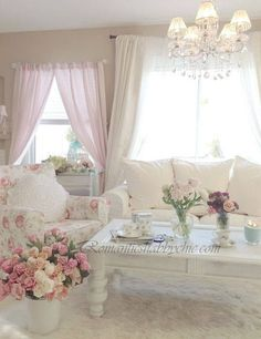 I wouldn't be able to keep a white sofa clean but it looks so pretty.
