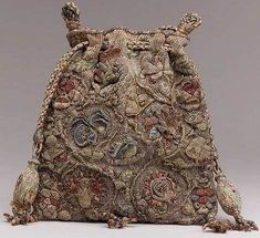 "Purse, last quarter of century, English, colored silks with silver and gold thread on linen-Elaborately embroidered purses such as this example were known as ""sweet bags"" and were used to carry scented herbs or essences to cover unpleasant odors. Vintage Purses, Vintage Bags, Vintage Handbags, Vintage Outfits, Vintage Accessoires, Sweet Bags, Landsknecht, Bags Online Shopping, Passementerie"