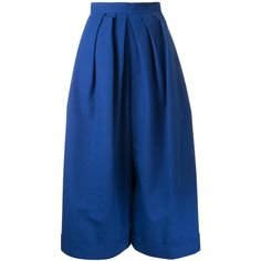 Delpozo pleated wide-legged cropped trousers ($776) ❤ liked on Polyvore featuring pants, capris, pantaloni, blue, cropped pants, blue wide leg pants, delpozo, blue pants and pleated wide leg pants