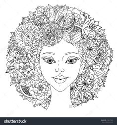 Printable Hair Coloring Pages. Beautiful fashion women with abstract hair and floral design elements could  be used for coloring book awesome PRINTABLE AFRICAN AMERICAN COLORING PAGES ONLINE