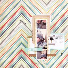 Love the use of marcy penner's journaling cards on this page!  Need to trim out that polaroid...and use more patterned paper as a full background.