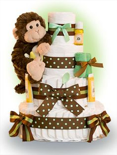 Our Lil' Monkey themed cake featuring Gund's Mambo is so cute. All kids young (and old) like to monkey around! This cake is a great gift, or can be used as a centerpiece for your baby shower. Only $96.00