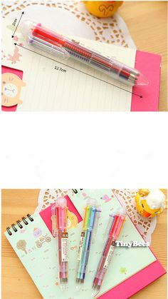 6 in 1 Multi Color Ballpoint Pen - 0.3 mm (1 pc) Korean Stationery Kawaii Colorful Ink Pens E0146 (3.29 USD) by TinyBees