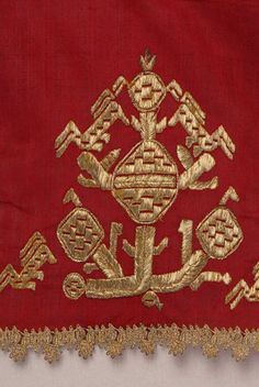 Border, detail of the decorative motif and the lace thessaly traditional costumes
