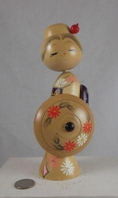 "Wooden Japanese Kokeshi Doll I  8"" tall"