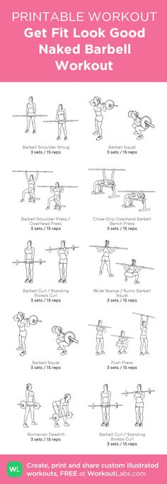 Get Fit Look Good Naked Barbell Workout:my visual workout created at WorkoutLabs Free Weight Workout, Weight Lifting Workouts, Gym Workouts, At Home Workouts, Barbell Weights, Barbell Exercises, Barbell Lifts, Barbell Workout For Women, Workout Routines