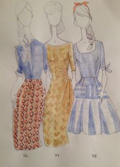 Designer sketches of Shabby Apple's Spring '14 Aussie Afternoon Collection