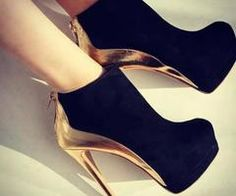 shoes: combination black and gold