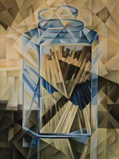 Pasta in a glass jar. Cubo-futurism. Krotkov Vassily. 2014