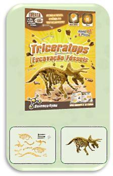 Com ESCAVAÇÃO FÓSSEIS - TRICERATOPS descobre: - O que são fósseis - Qual a causa de extinção dos dinossauros - Quais as melhores técnicas de escavação - O que é a Paleontologia - Características e curiosidades sobre o Triceratops.