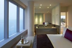 The Spectacular Suite at hotel W Barcelona W Hotel Barcelona, Open Baths, Hotel W, White Bedspreads, Modern Architects, Interior Decorating, Interior Design, Hotel Interiors, Dream Bedroom