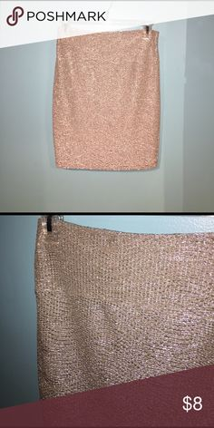 Silver fitted skirt Beautiful silver with gold reflects high waisted fitted skirt. Worn once, great condition Skirts Mini