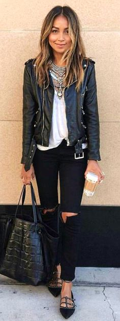 #spring #summer #street #style #outfitideas |Black And White Classy Street Style
