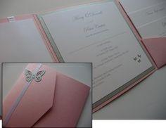 Pink & Silver Butterfly theme Pocketfold style Wedding invitation