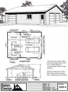 garage plans 2 car shop garage plan with one story 1200 5 behm. Pole Barn Garage, Garage Shed, Garage Workshop, Detached Garage, Pole Barns, Garage House, Workshop Ideas, Garage Workbench, Workshop Cabinets