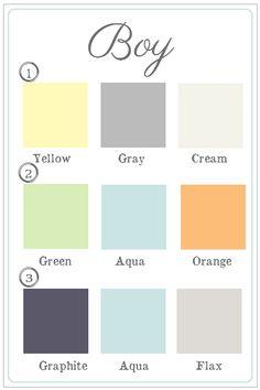 Boy nursery color schemes. I love both #1 and #2.