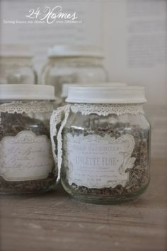 How cute are these with the baby food jars... Print out labels and add lace...  www.24Homes.blogspot.com