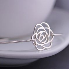 Rose Bracelet, Rose Jewelry, Rose Bangle Bracelet, Sterling Silver Flower Bracelet, Bridesmaid Gift by georgiedesigns on Etsy