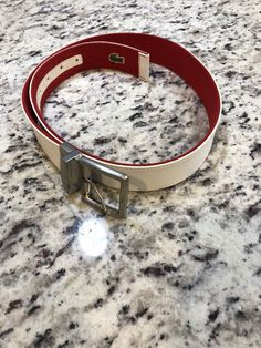 fe842c84397af Lacoste White Genuine Leather White Mens Belt Sz 32  fashion  clothing   shoes  accessories  mensaccessories  belts (ebay link)