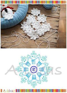 схема вязания крючком снежинки