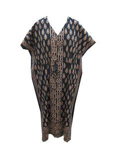Kimono Sleeves Beige Black Caftan Holiday Wear Cotton Maxi Dress