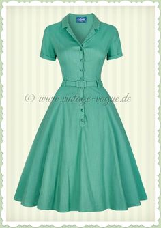 Collectif Jahre Vintage Rockabilly Petticoat Kleid – Caterina – Grün – See other ideas and pictures from the category menu…. Vintage Dresses 50s, Vestidos Vintage, Retro Dress, Vintage Style Outfits, Rockabilly Vintage, Cute Dresses, Beautiful Dresses, Casual Dresses, African Fashion Dresses