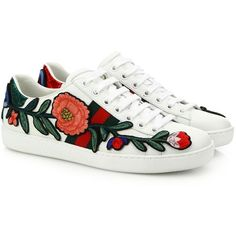 Gucci New Ace Floral-Embroidered Leather Low-Top Sneakers ($695) ❤ liked on Polyvore featuring shoes, sneakers, apparel & accessories, green leather shoes, lace up shoes, floral shoes, leather lace up sneakers and leather shoes