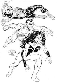 Spider-Man, Namor and She-Hulk by John Byrne