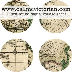 Free vintage map digital collage sheet with 61 round one inch images. Perfect for making bottle cap embellishments.