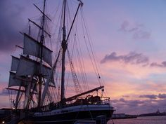 Star of India, my favorite tall ship, in a Purple Sunset, San Diego.  www.loisjoyhofmann.com