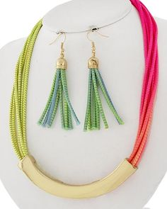 Gold Tone / Multi Color Cord / Lead&nickel Compliant / Metal / Fish Hook (earrings) / Necklace & Earring Set