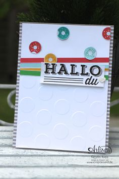 """Stamping & Blogging DT Sketch108 Karte mit Designerpapier im Block """"Bunte Party"""" und Stempelset """"Unter Freunden"""""""