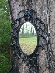 Ornate Mirror Black Curvy Baroque Design , Goth Large Wall Mirror Shown in Black Gloss or CHOOSE Color Size 35 x 24. $165.00, via Etsy.