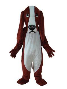 Short Plush Dog Adult Mascot Costume