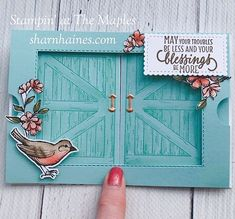 Stampin' Up? Barn door, free As a bird Fun Fold Cards, Pop Up Cards, Folded Cards, Cool Cards, Card Making Tutorials, Making Ideas, Window Cards, Interactive Cards, Scrapbooking