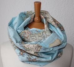 Unisex Loop/ Scarf/ map of the world/ blue/ grey - All around the world on Etsy, $36.07