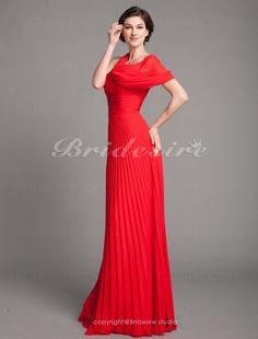 Sheath/ Column Chiffon V-neck Pleated Floor-length Evening Dress - $122.99
