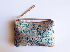 Turquoise Gold Lace Clutch. Venice Embroidered clutch. Bridesmaid Blue Floral Lace Clutch. Free US shipping on Etsy, $50.00