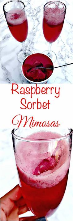 raspberry sorbet champagne mimosas #ThanksgivingRecipes #Cocktails #ChristmasRecipes #HolidayRecipes #NewYearsCocktails #Cocktails #Mimosas
