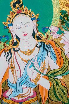 Mendri style with clouds. Thangka Painting, Buddha Painting, Buddha Art, Tibetan Art, Tibetan Buddhism, Buddhism Symbols, Tara Goddess, Cosmic Egg, Vajrayana Buddhism