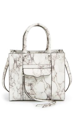 Marble print satchel; chic structured handbag // Rebecca Minkoff