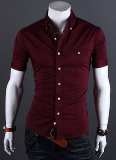 Fashion Shirt Collar Metal Buttons Slimming Short Sleeves Polyester Shirt For Men