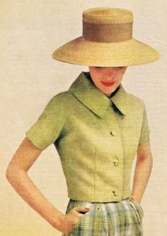 McCalls Patterns, 1957. Charming jacket is complemented wonderfully by the lovely straw hat's lines.
