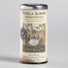 One of my favorite discoveries at WorldMarket.com: The Republic of Tea Vanilla Almond Black Tea, 50 Count Tin