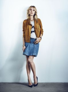 Y.A.S Rosie suede leather jacket, Vicii denim skirt, Stream top #yasapparel